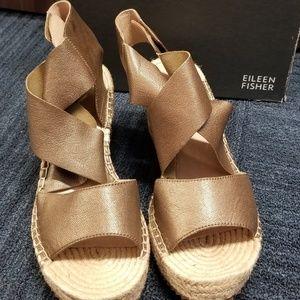 Eileen Fisher Willow Bronze Leather Espadrilles